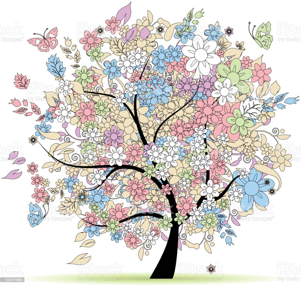 Floral tree in pastel colors for your design, spring royalty-free floral tree in pastel colors for your design spring stock vector art & more images of abstract