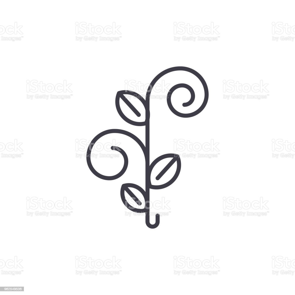 Floral tree line icon concept. Floral tree flat vector sign, symbol, illustration. - Royalty-free Abstract stock vector