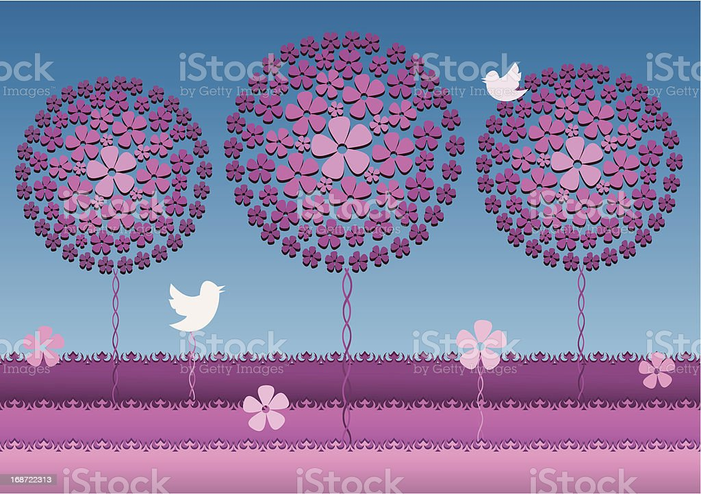 Floral trees blossom in pink garden royalty-free stock vector art