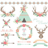The vector for Floral Tribal collections.Floral Antlers,Teepee Tents,Wedding floral,Arrow,Wreath,Wedding Invitation.