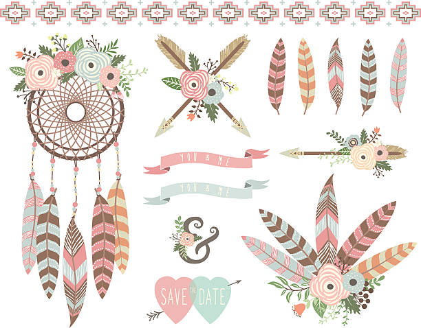 Floral Tribal Elements A vector illustration of Floral Tribal Elements. Perfect for Weeding, valentine's, Mother's day and many more.  Illustrations themed with floral, floral frame and wreath elements.  dreamcatcher stock illustrations