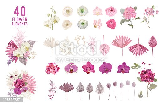 Floral tropical boho collection. Watercolor tropic flowers and leaves. Vector design isolated elements of palms, hawaiian plants for wedding decoration, party invitation, summer card, backdrop
