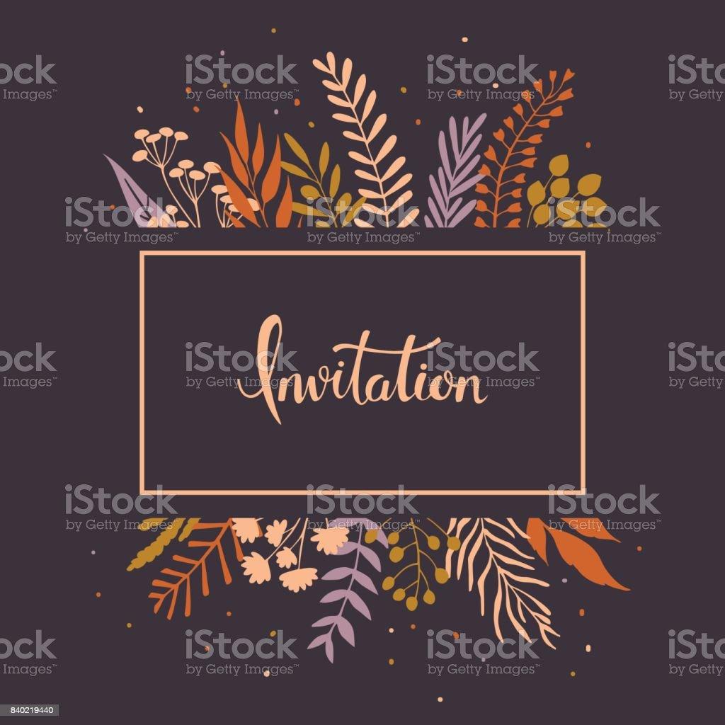 Floral Zweige Zweige Blätter Einladung – Vektorgrafik
