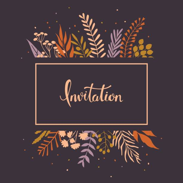 floral twigs branches leaves invitation vector art illustration