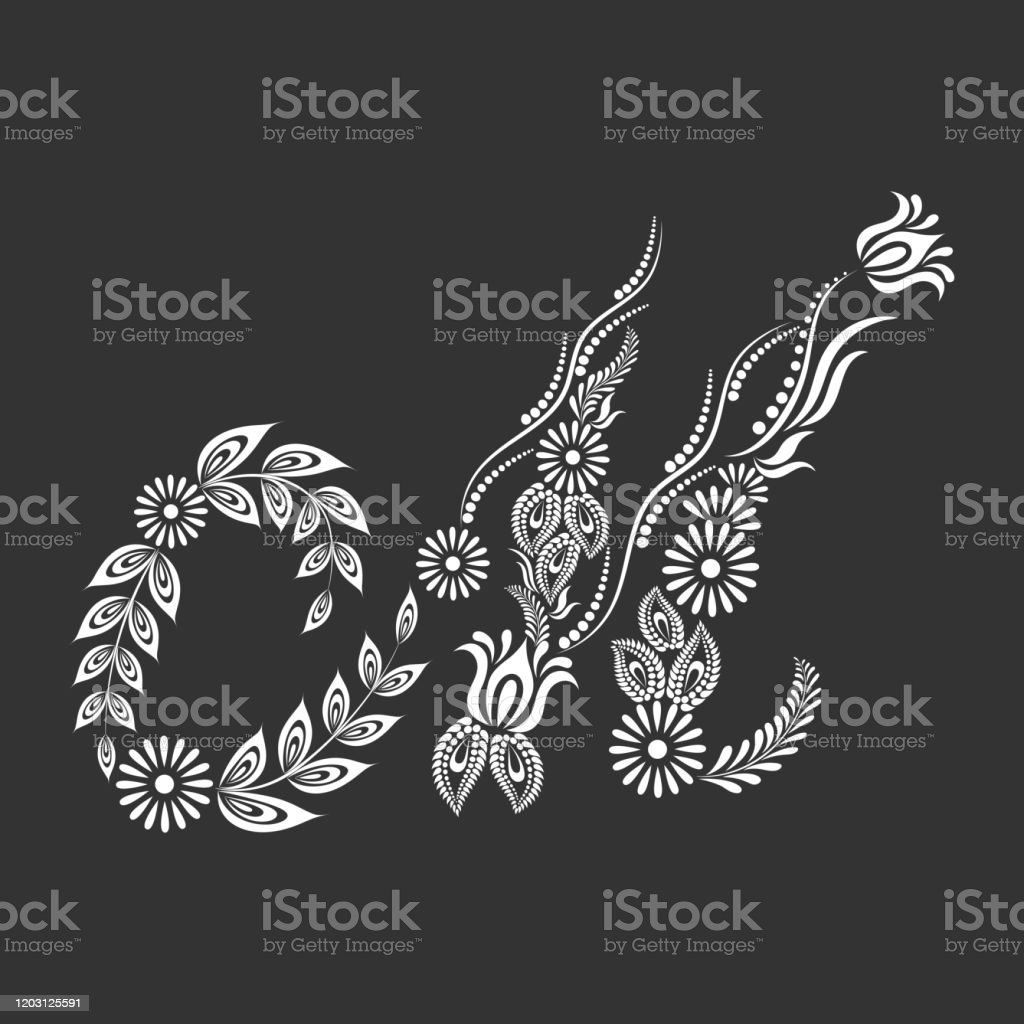 Floral Uppercase White Letter A Monogram On Black Background Stock Illustration Download Image Now Istock