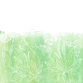 English plantain and insect. Vector illustration on a green watercolor background. Invitation, greeting card or an element for your design.