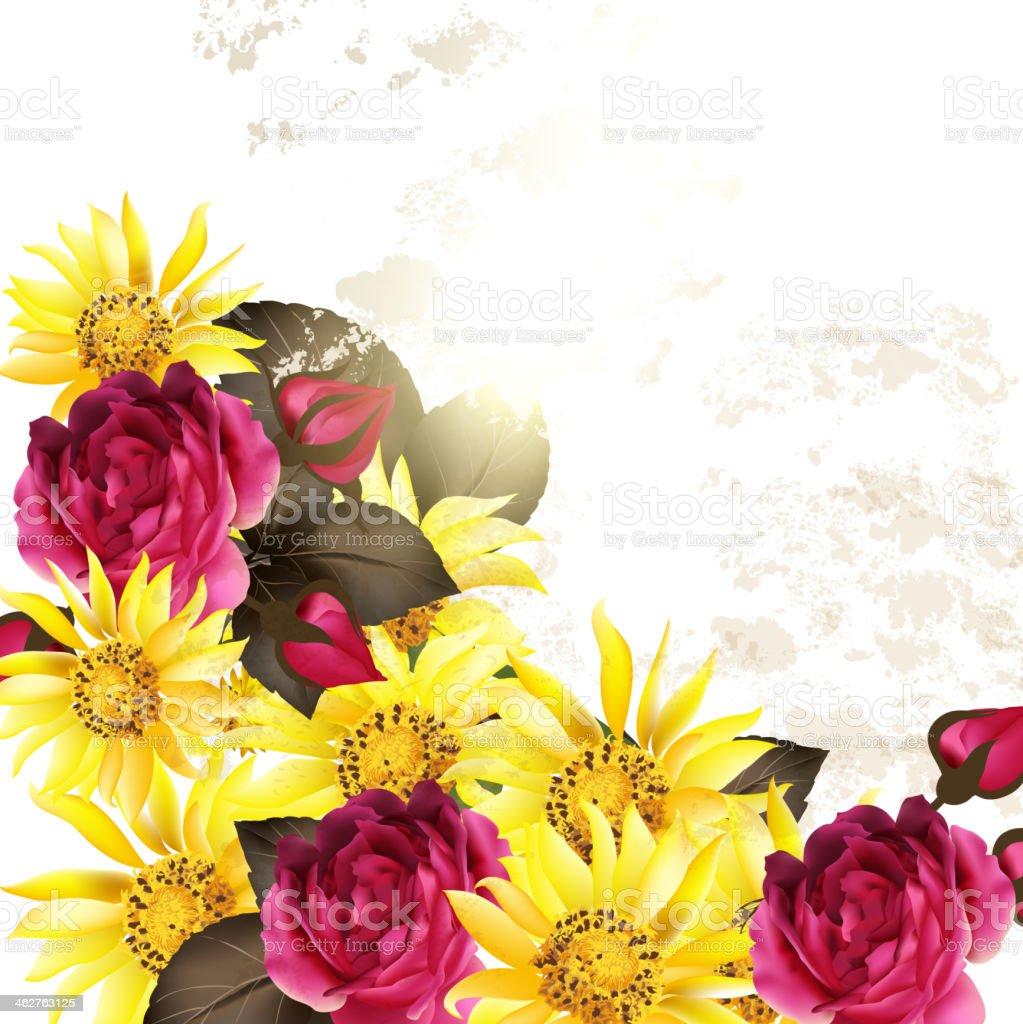 Sfondo Vettoriale Floreale Con Fiori Rosa Immagini Vettoriali