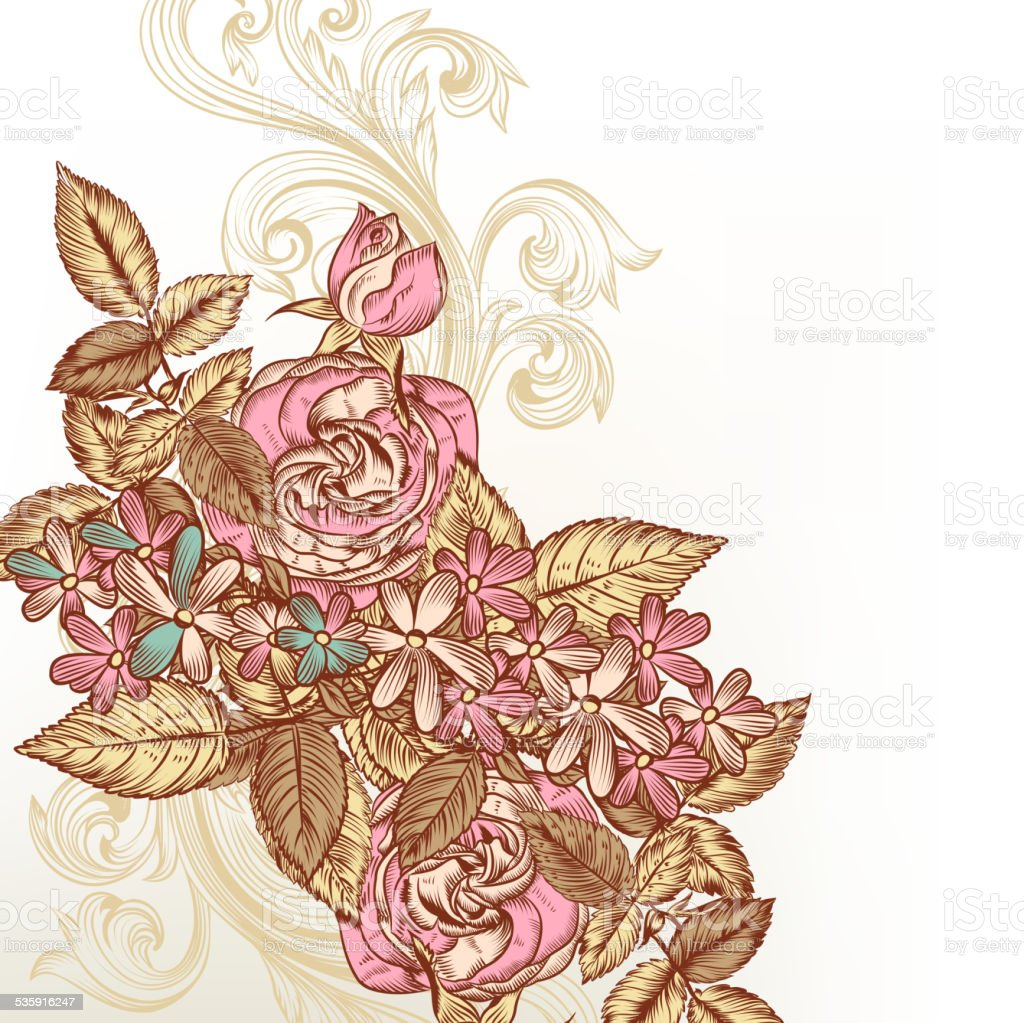 Floral vector background with roses vector art illustration