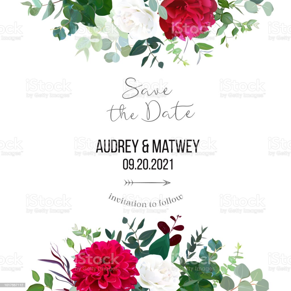 Floral Vector Banner Frame With White Rose Burgundy Peony Red Stock ...