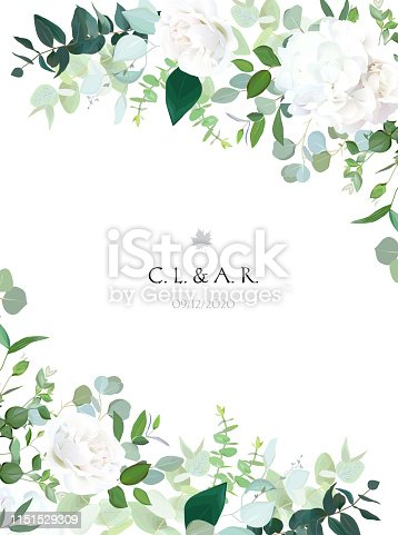 Floral vector banner vertical invitation frame with white rose, hydrangea, eucalyptus, emerald and mint greenery, green plants. Wedding design minimalist card. All elements are isolated and editable