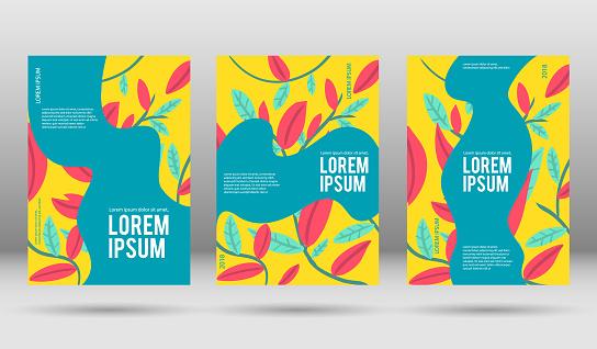 Floral vector cover design templates