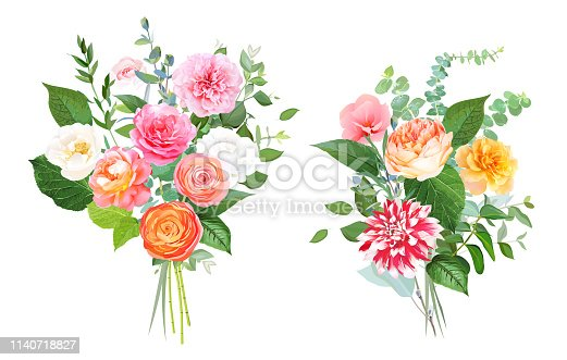 Floral vector design bouquets. Pink, yellow, fuchsia rose, orange ranunculus, garden rose, striped dahlia, coral flowers, peony, greenery. Wedding elegant bunch. Elements are isolated and editable