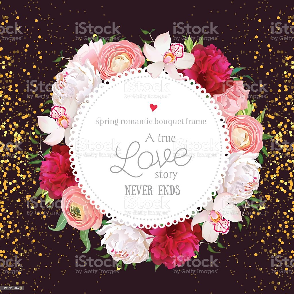 Floral vector design round card with golden glitter dark background - illustrazione arte vettoriale