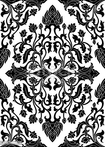 Floral vector pattern with damask. Seamless filigree ornament. Black and white template for wallpaper, textile, shawl, carpet.