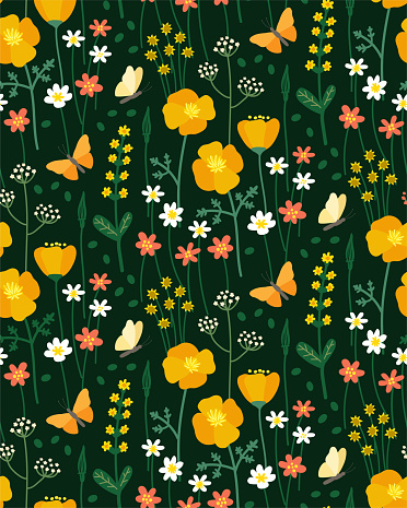 Cute seamless floral vector pattern for wallpaper, textile. Wildflowers with butterflies on a green background