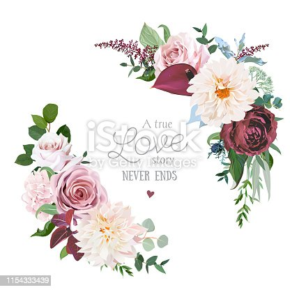 Floral vector round frame of cinnamon, brown, dusty pink, marsala roses, dahlia, burgundy anthurium flowers, greenery, astilbe. Half moon shape wedding bouquets. All elements are isolated and editable