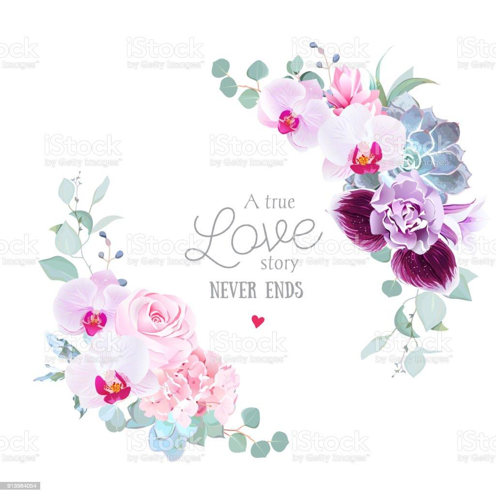 花のベクトル ラウンド紫の蘭のフレーム ピンクのバラ、アジサイ ベクターアートイラスト