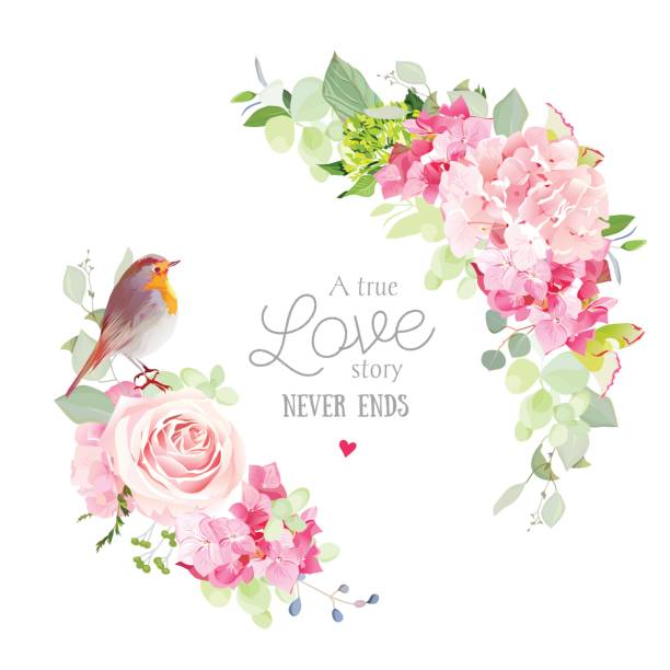 Floral vector round frame with cute small robin bird Floral vector round frame with pink rose, hydrangea, carnation flowers, mixed plants and cute small robin bird. Half moon shape bouquets. All elements are isolated and editable bird borders stock illustrations