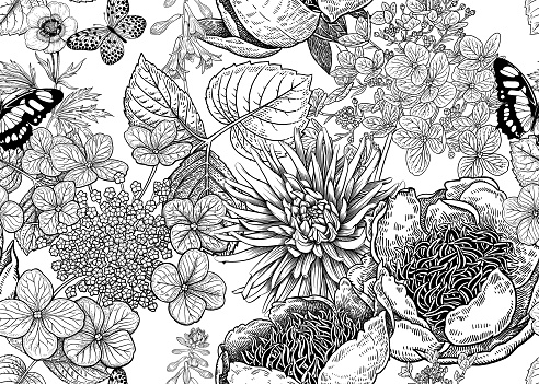 Peonies, hydrangea, aster and butterfly. Floral background. Vintage seamless pattern. Black and white. Bouquets of flowers, leaves and branches. Oriental style. Vector illustration art.