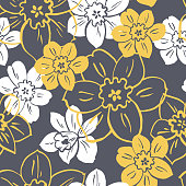 Floral vector seamless  pattern  with yellow and white flowers