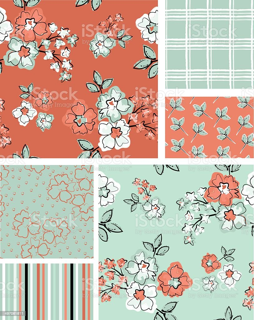 Floral Vector Seamless Patterns vector art illustration