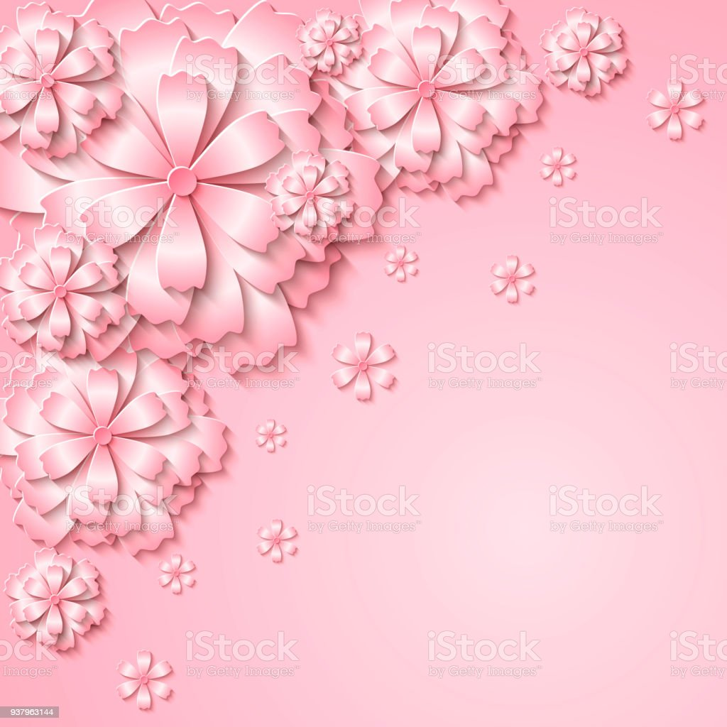 Floral Vector Tender Background With 3d Cut Out Paper Pink Flowers
