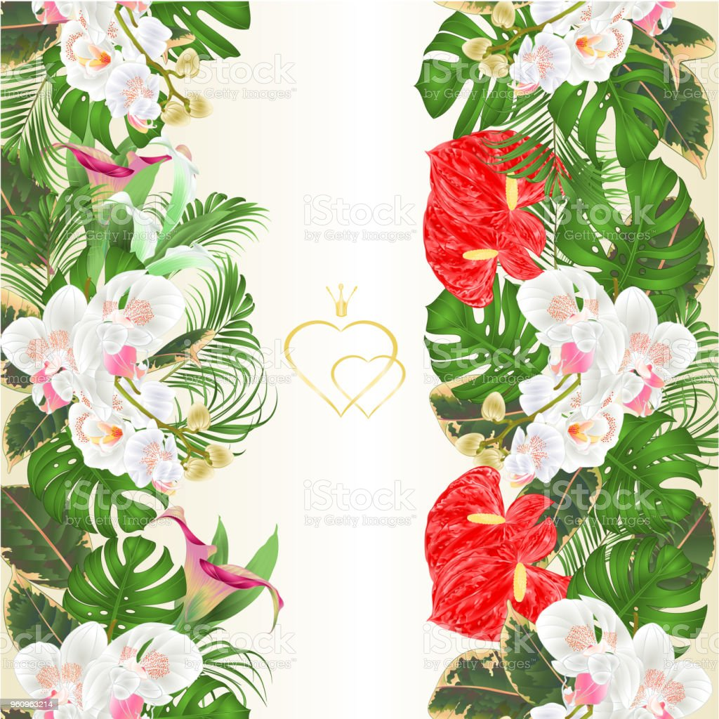 Floral Vertical Border Seamless Background Bouquet With Tropical