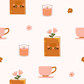 istock Floral vintage book with tea cup or mugs coffee and candle flowers seamless pattern background 1307018626