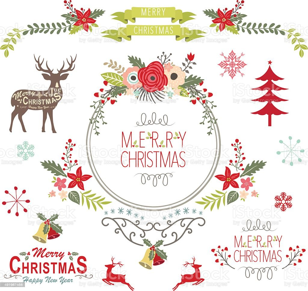 Floral Vintage Christmas Elements- Illustration vector art illustration