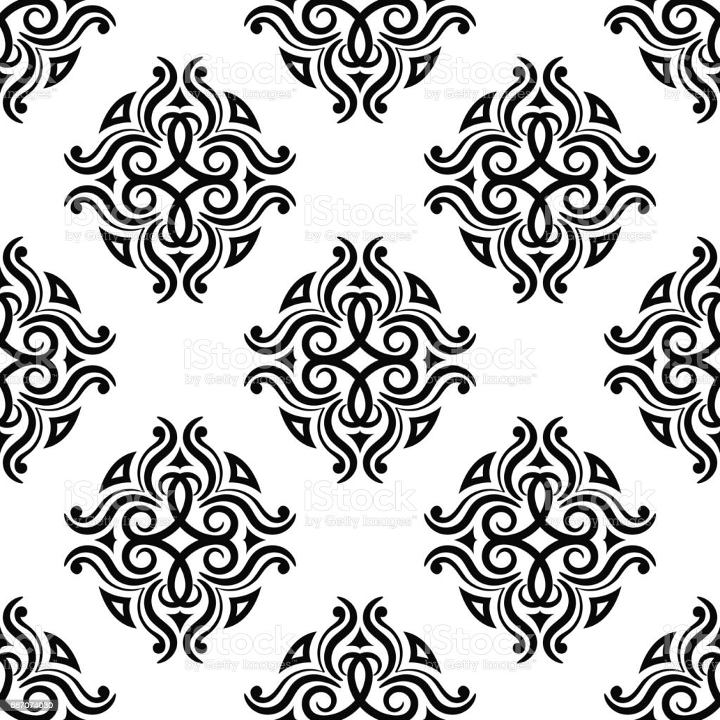 floral vintage ornaments black and white seamless patterns
