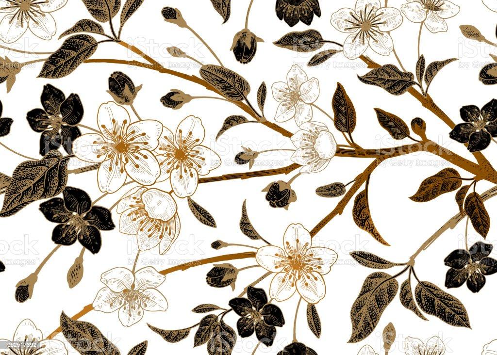 Floral vintage padrão sem emenda com cereja japonesa. - Vetor de Abstrato royalty-free