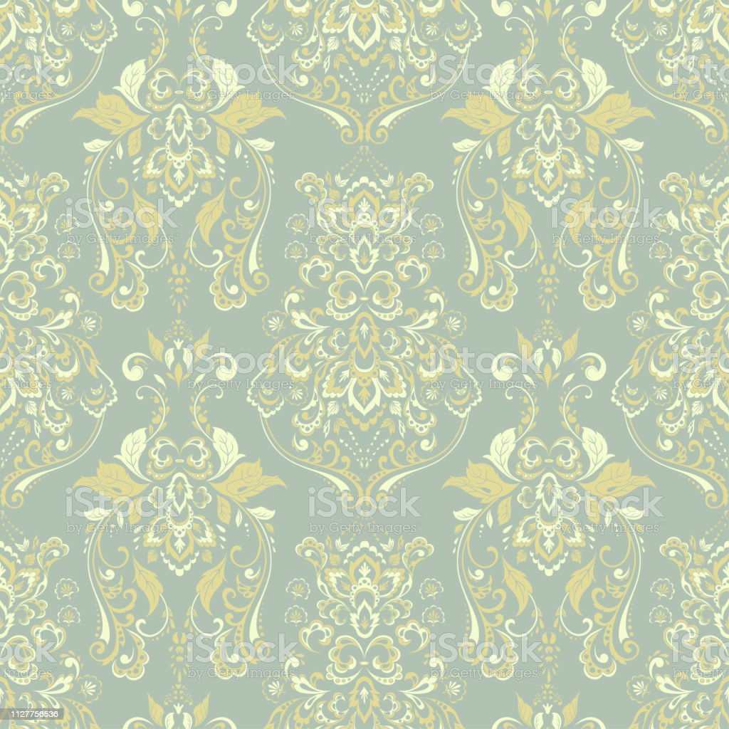 Floral Vintage Wallpaper Vector Seamless Background Stock