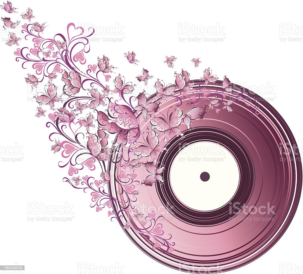 Floral vinyl record royalty-free stock vector art