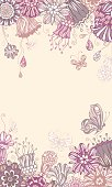 Ornate floral pattern with butterflies for your design. There is blank space for your text in the center. EPS 8.