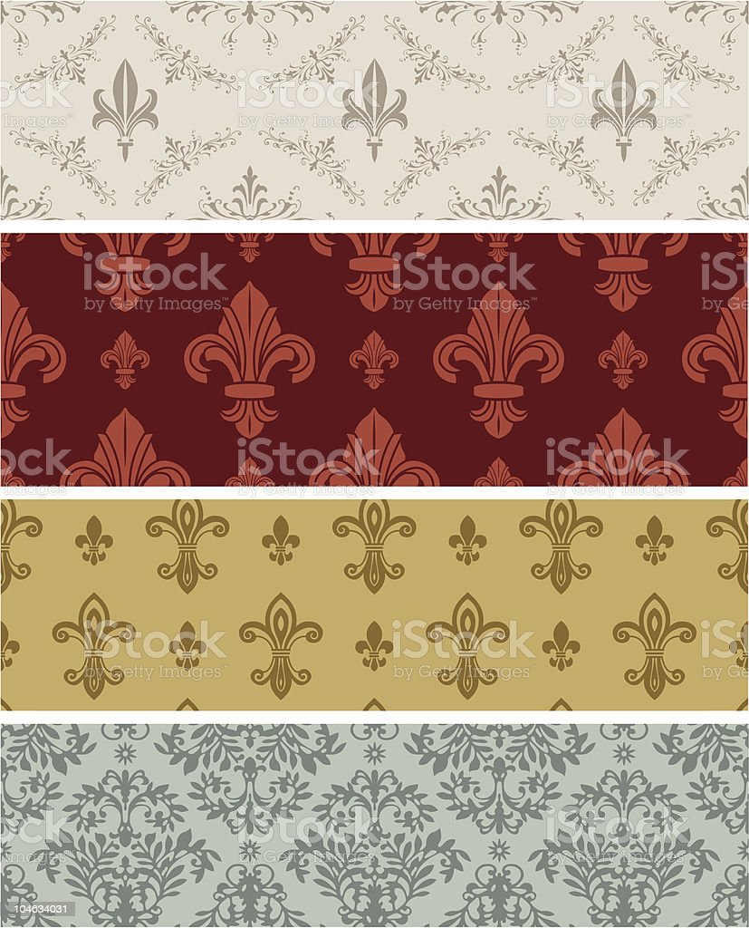 Floral wallpaper collection (seamless) vector art illustration