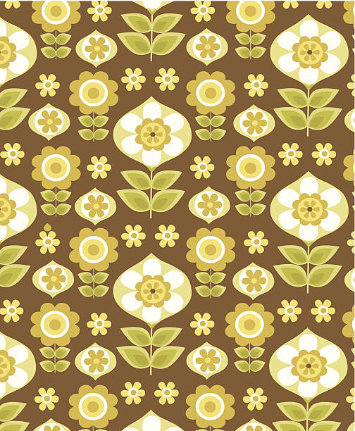 Floral wallpaper pattern 1970s style vector art illustration