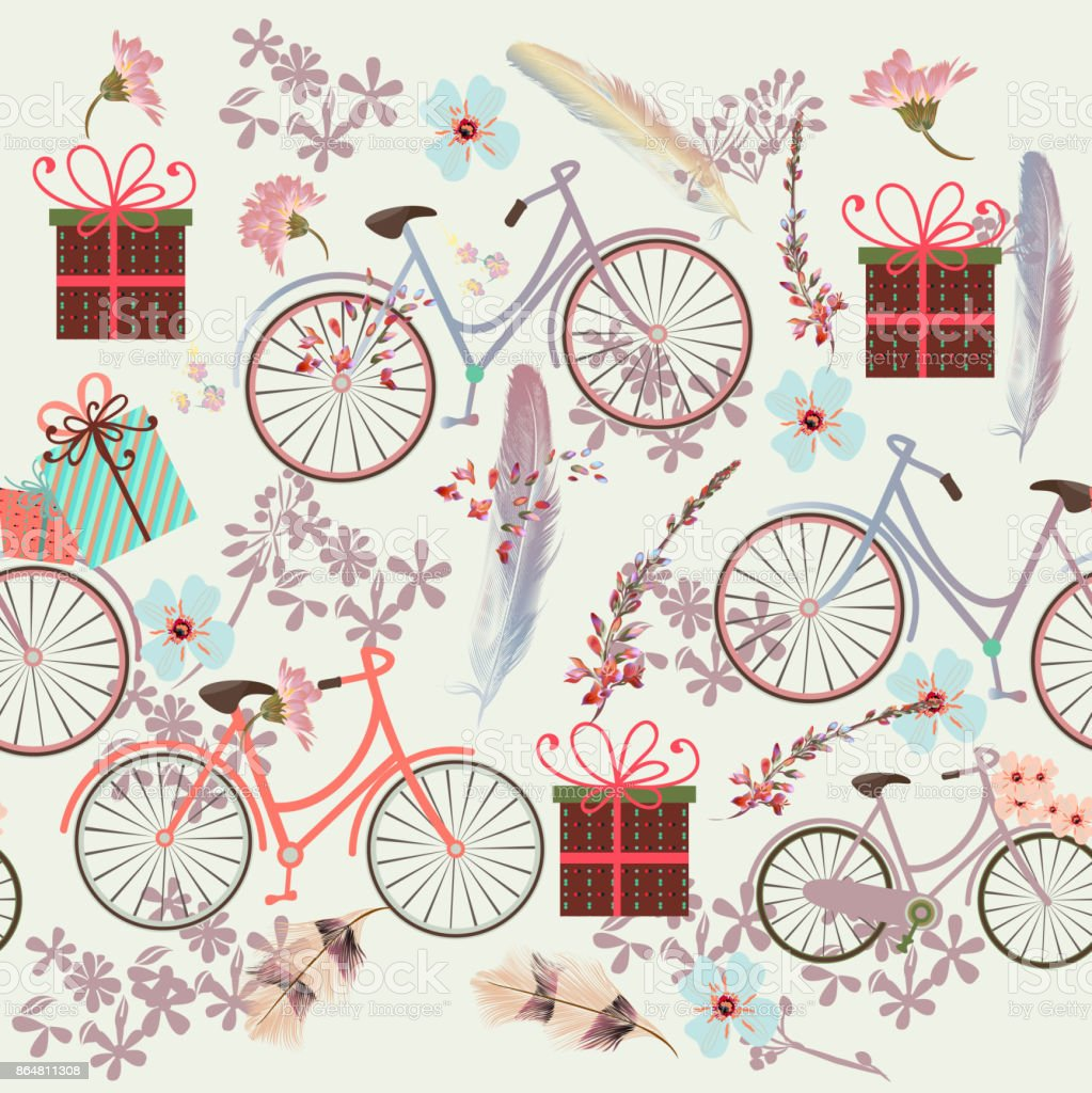 Floral Wallpaper Pattern With Bicycles Feathers And Flowers Royalty Free