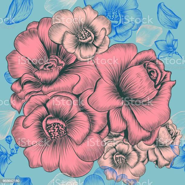 Floral wallpaper pattern with engraved hand drawn flowers vector id955642180?b=1&k=6&m=955642180&s=612x612&h=n2vejxirvui 1m0lik06c9dj4ojfnv6av9y4mrqzcn0=