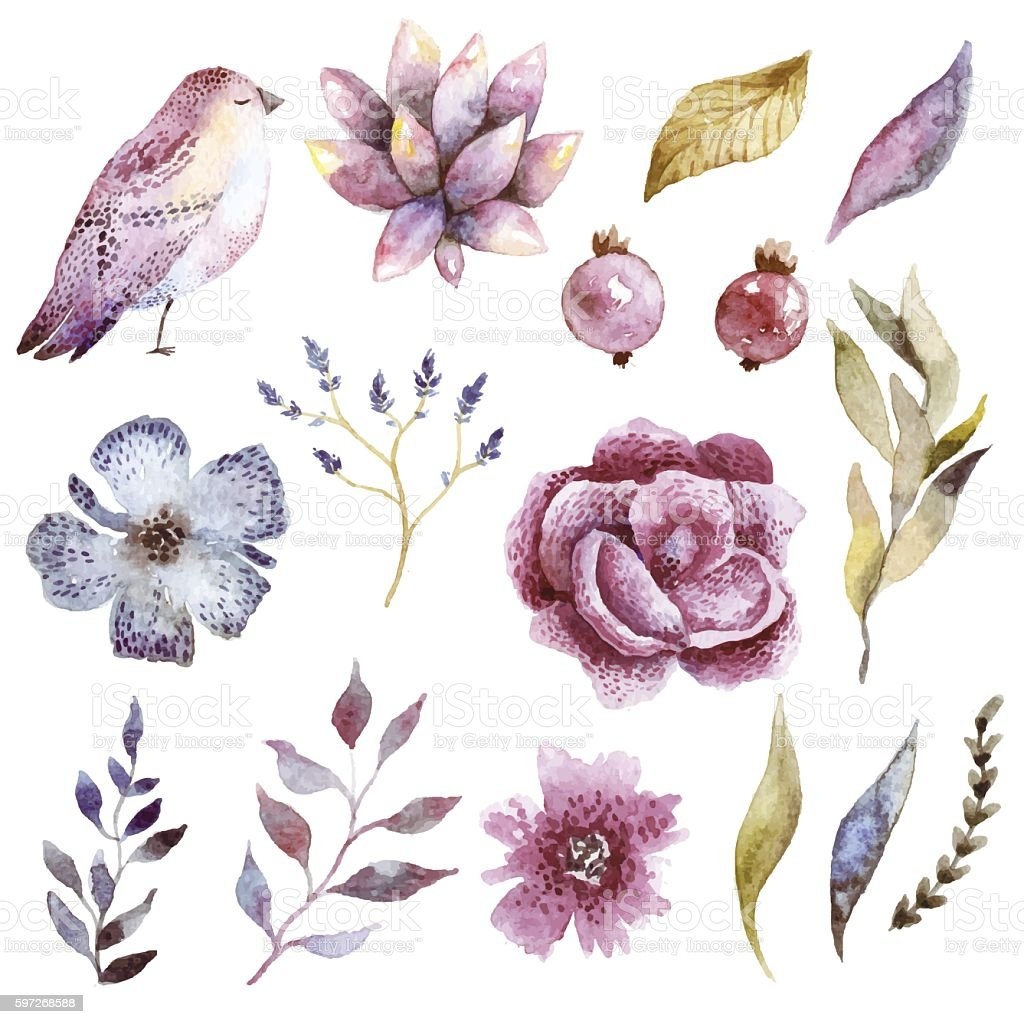 Floral watercolor set with bird. Lizenzfreies floral watercolor set with bird stock vektor art und mehr bilder von altertümlich