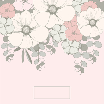 Floral Wedding background  with pink flowers, eucalyptus leaves and cotton balls