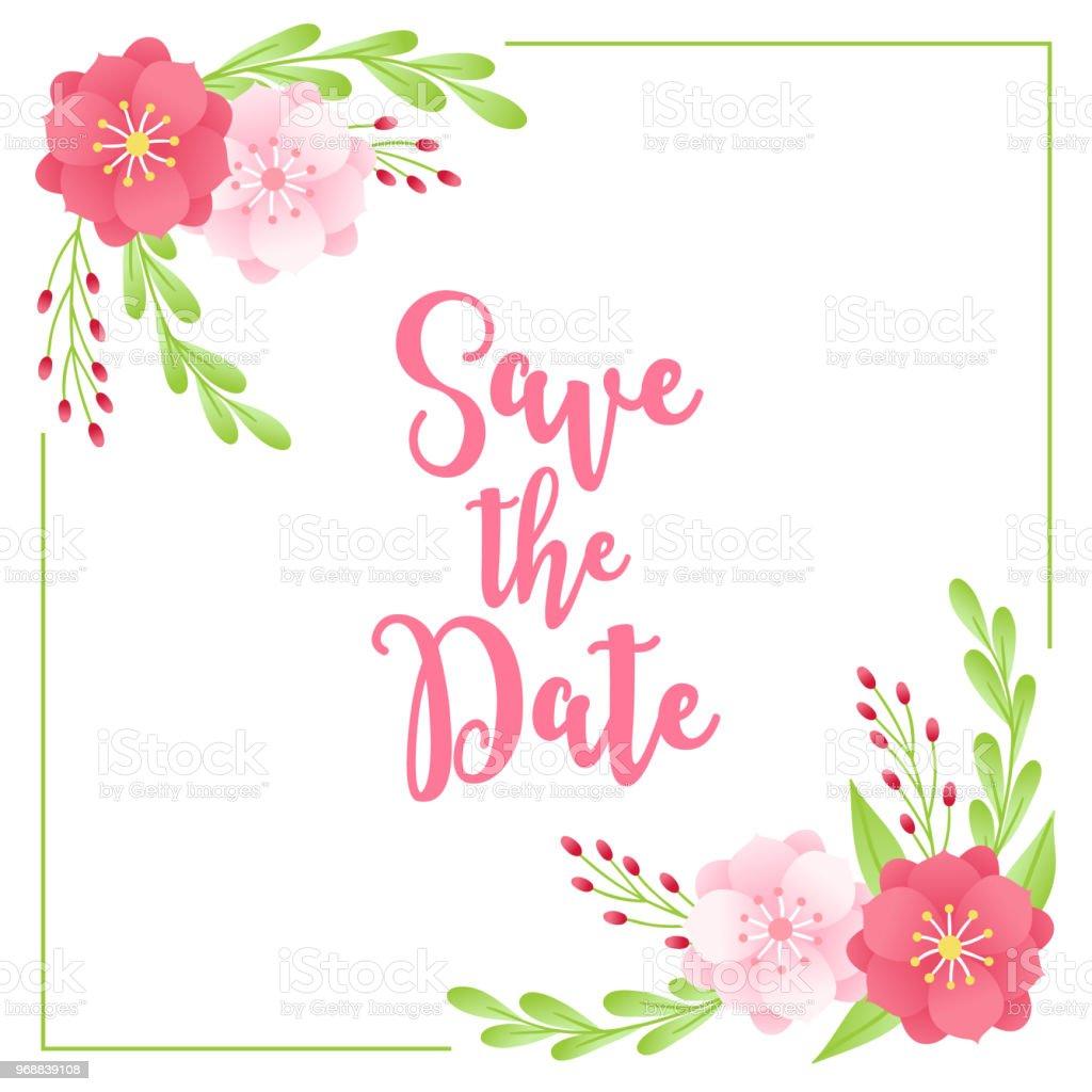 Floral Hochzeitskarten Mit Ecke Ornament Anemone Beeren Blatter