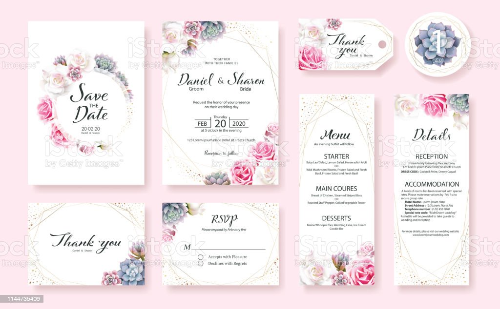 Floral Wedding Invitation Card Save The Date Thank You Rsvp