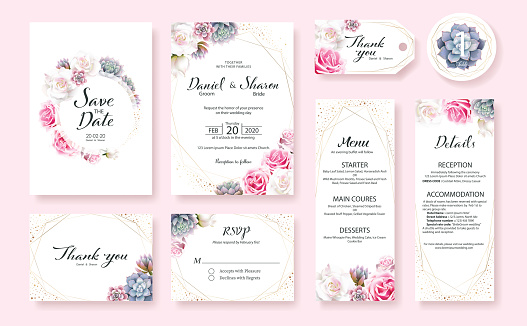 Floral Wedding Invitation card, save the date, thank you, rsvp, table label, menu, details, tage template. Pink and White Rose flower, Succulent plants. clipart