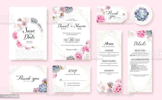 Floral wedding invitation card save the date thank you rsvp table vector id1144735409?b=1&k=6&m=1144735409&s=612x612&h=h7skwwlj0aujbjyzbvznmvblhxjohcea3xba73l z1a=