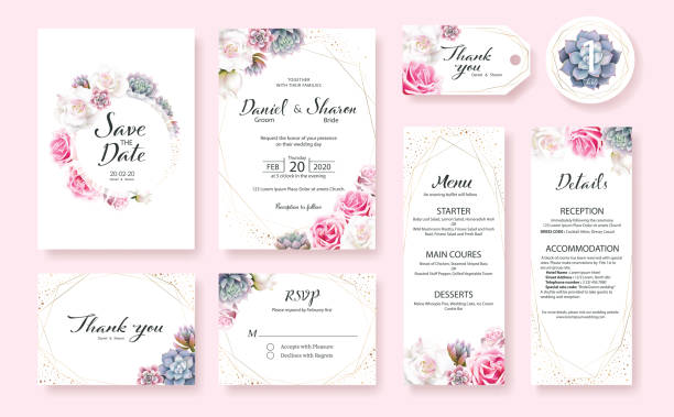 illustrazioni stock, clip art, cartoni animati e icone di tendenza di floral wedding invitation card, save the date, thank you, rsvp, table label, menu, details, tage template. pink and white rose flower, succulent plants. - matrimonio
