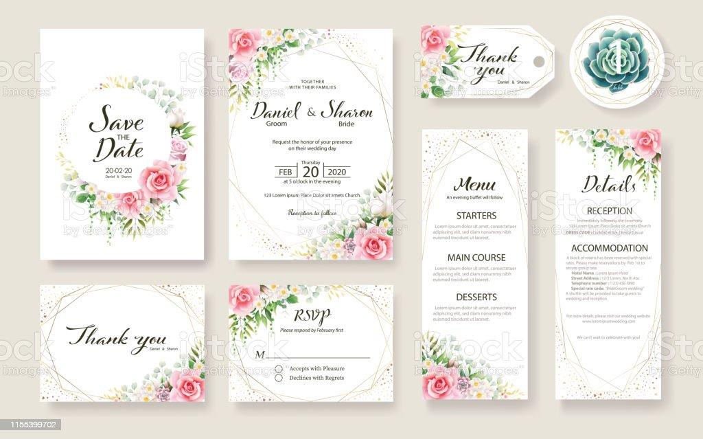 Carte De Mariage Floral Invitation Enregistrer La Date Je