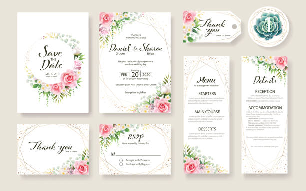 floral wedding invitation card, save the date, thank you, rsvp, table label, tage template. rose flower, succulent, greenery plants. - marriage stock illustrations