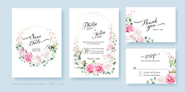 floral wedding invitation card, save the date, thank you, rsvp template. white and pink rose flower, silver dollar plant, olive leaves, wax flower. - thank you background stock illustrations