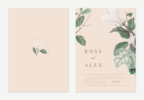 Floral wedding invitation card template design, Anise magnolia flowers with leaves on light orange, pastel vintage theme