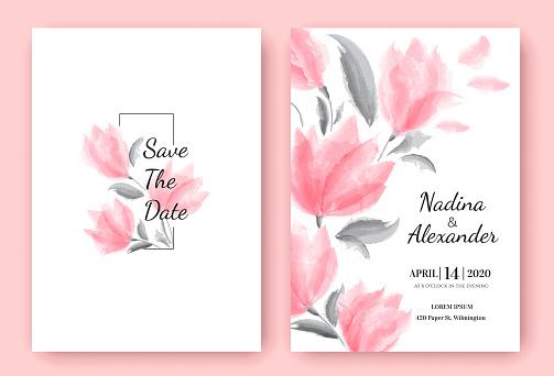 Floral wedding invitation card template design, beautiful pink flowers, pastel vintage theme